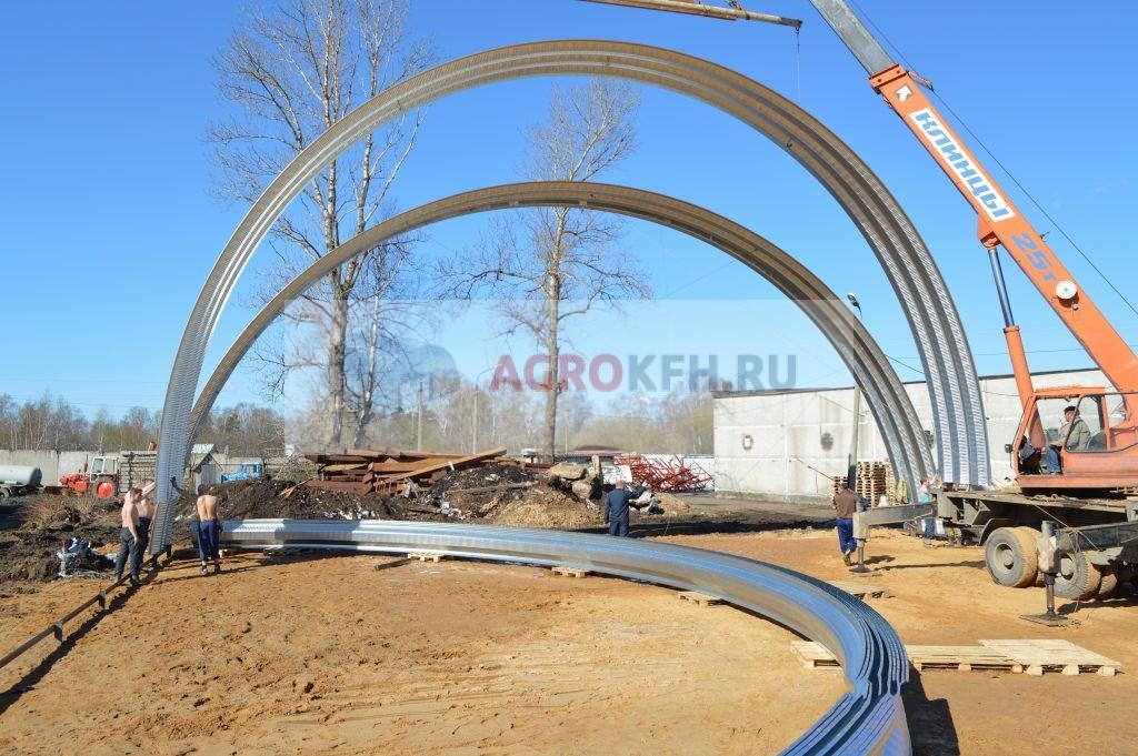 Монтаж арок бескаркасного ангара