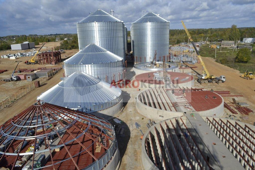 Монтаж силосов для хранения зерна