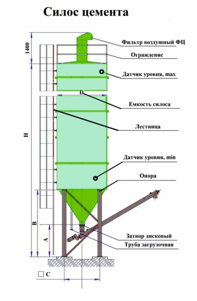 цементный силос чертеж